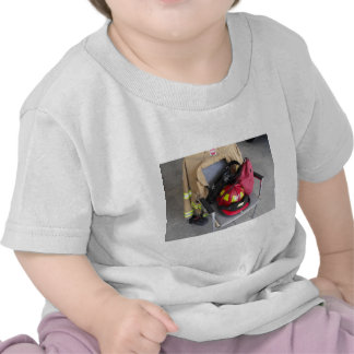 fire fighter helmit on chair tshirt