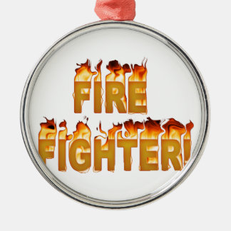 FIRE FIGHTER in Flames Metal Ornament