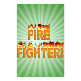 FIRE FIGHTER in Flames Stationery