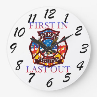 Fire Fighter Large Clock