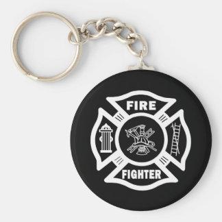 Fire Fighter Maltese Basic Round Button Keychain