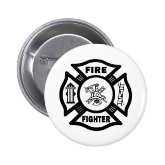 Fire Fighter Maltese Pinback Buttons
