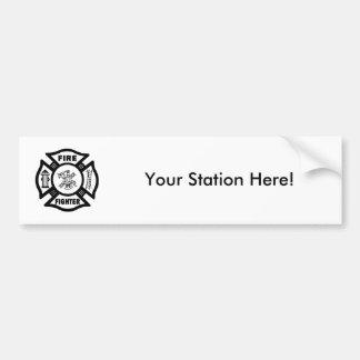 Fire Fighter Maltese Car Bumper Sticker