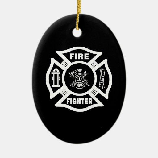 Fire Fighter Maltese Christmas Ornament
