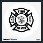 """Fire Fighter Maltese Cross Wall Decal<br><div class=""""desc"""">Firefighters and fire dept brotherhood pride symbols</div>"""