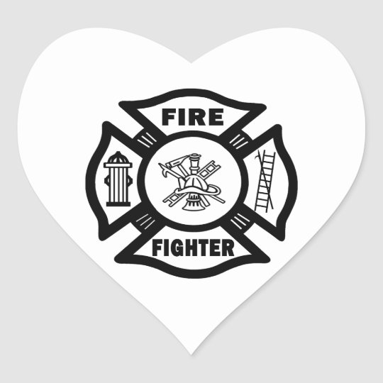 Fire Fighter Maltese Heart Sticker