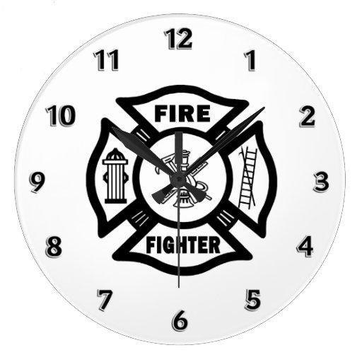 Fire Fighter Maltese Logo Wallclocks
