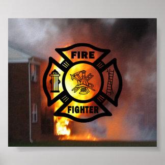 Fire Fighter Maltese Print