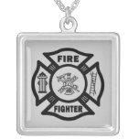 Fire Fighter Maltese Square Pendant Necklace