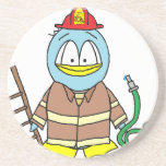 Fire Fighter Penguin Beverage Coasters
