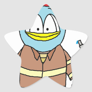 Fire Fighter Penguin Star Sticker