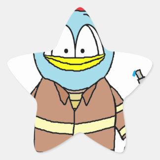 Fire Fighter Penguin Star Sticker
