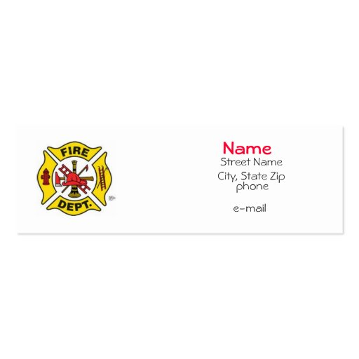 Fire Fighter Profile Card Double-Sided Mini Business Cards (Pack Of 20)