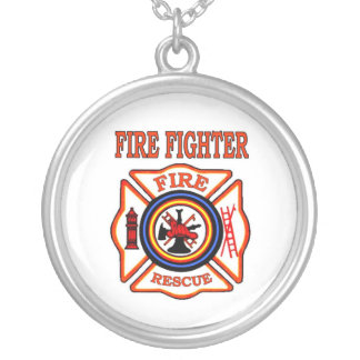 FIRE FIGHTER ROUND PENDANT NECKLACE