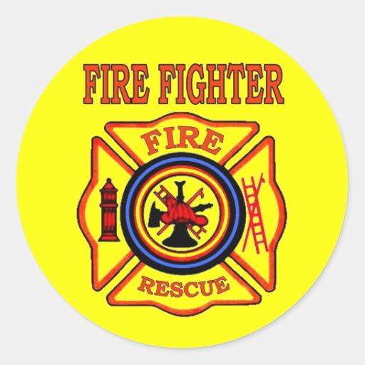 FIRE FIGHTER ROUND STICKER