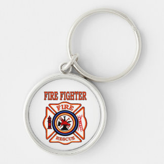 FIRE FIGHTER Silver-Colored ROUND KEYCHAIN