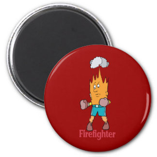 Fire Fighter - Word Play 2 Inch Round Magnet