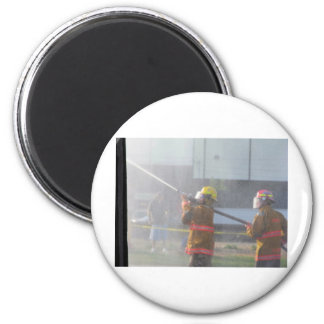 Fire Fighters at work 2 Inch Round Magnet