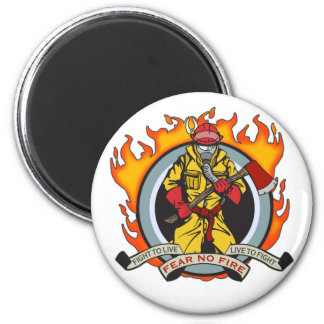 Fire Fighters Fear No Fire 2 Inch Round Magnet