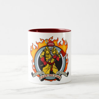 Fire Fighters Fear No Fire Two-Tone Coffee Mug
