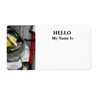 Fire Fighter's Helmet Closeup Shipping Label