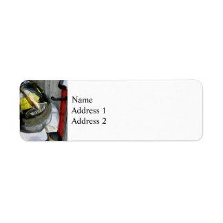Fire Fighter's Helmet Closeup Return Address Label