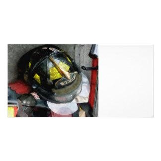 Fire Fighter's Helmet Closeup Photo Card