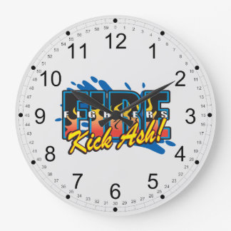 Fire Fighters Kick Ash! Large Clock