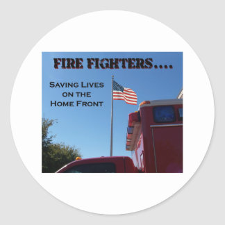 Fire Fighters Saving Lives Classic Round Sticker