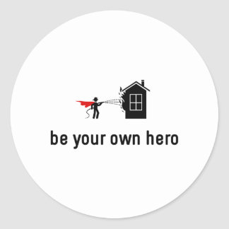 Fire Fighting Hero Classic Round Sticker