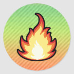 Fire Flame design Round Stickers
