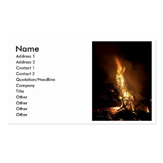 Fire flame man shape burning bonfire picture business card