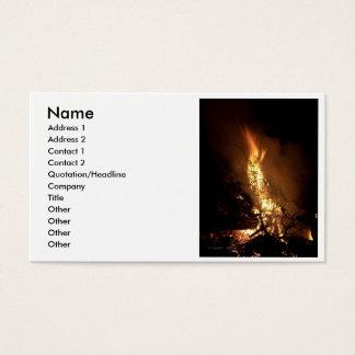 Fire flame man shape burning bonfire picture business card