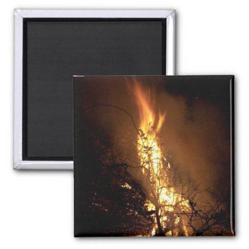 Fire flame man shape burning bonfire picture refrigerator magnet
