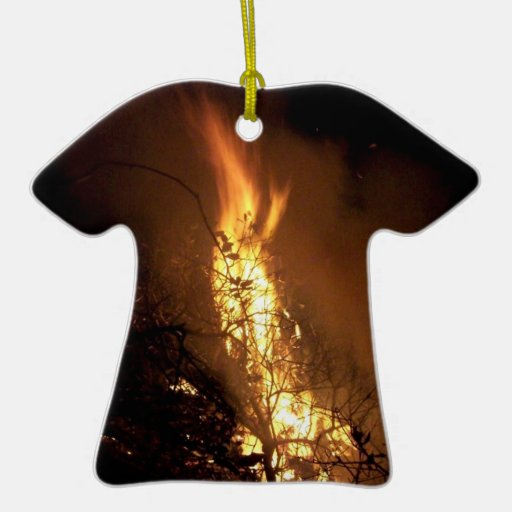 Fire flame man shape burning bonfire picture Double-Sided T-Shirt ceramic christmas ornament