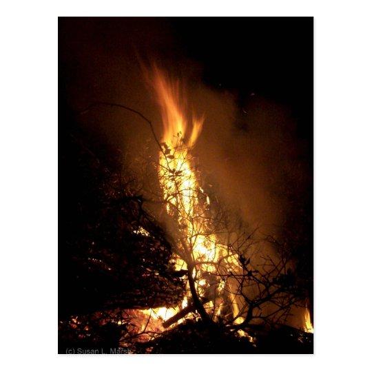Fire flame man shape burning bonfire picture postcard