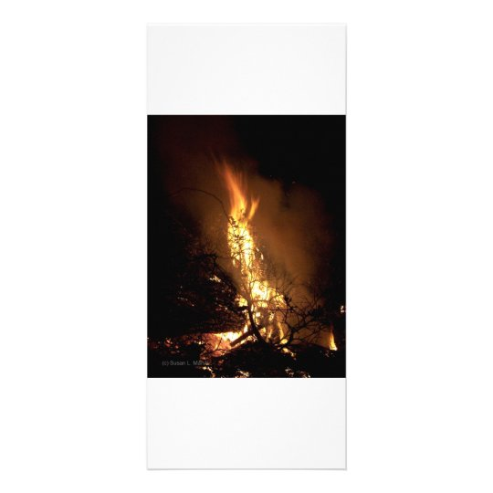 Fire flame man shape burning bonfire picture rack card