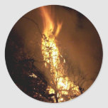 Fire flame man shape burning bonfire picture classic round sticker