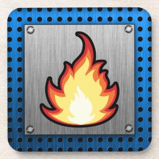 Fire Flame; Metal-look Coaster