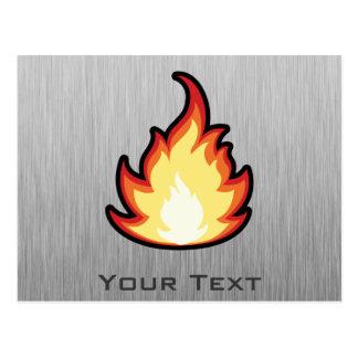 Fire Flame; Metal-look Postcard