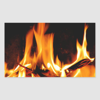 fire flame on black background rectangular sticker