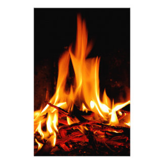fire flame on black background stationery paper