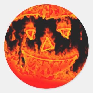 Fire Flame Orange Scary Funny Halloween Pumpkin Classic Round Sticker