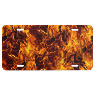 Fire / Flame Pattern Background License Plate
