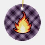 Fire Flame; Purple Ornaments