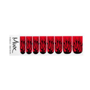 Fire Flame Red Black Minx Nail Art