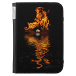 Fire Flames Burning Hot White Rose Kindle Case