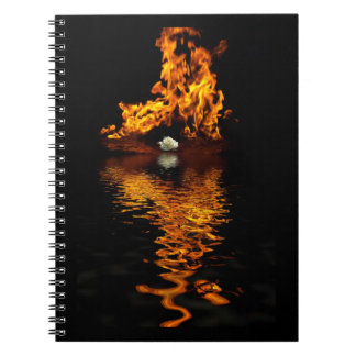 Fire Flames Burning Hot White Rose Notebook