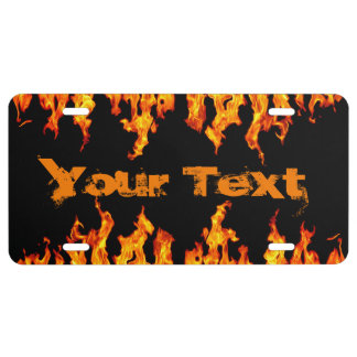 Fire Flames License Plate