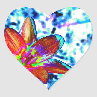Fire flower heart sticker